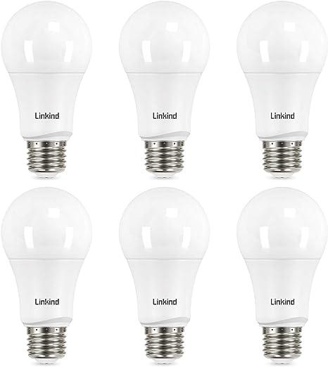 75 Watt Equivalent Linkind A19 Dimmable Led Light Bulbs E26 Base 2700k Soft White 13w 1100 Lumens Cri80 120v Ul Listed Fcc Certified Energy Star Pack Of 6