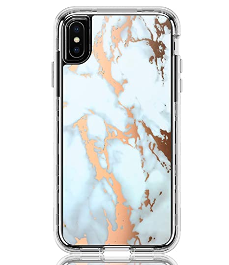 cheap for discount 8f7e7 d9e95 BAISRKE Shiny Rose Gold White Marble Heavy Duty Hybrid 3-Layer Full-Body  Protect Clear Case Soft TPU & Hard Plastic Back Cover Compatible with  iPhone ...