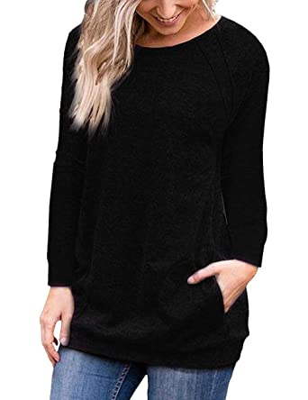 8ef9f1fc63 Women s Casual Loose Long Sleeve Tops Blouse Shirts with Pockets Black S