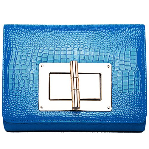 Women Classic Clutch Clasp Faux Leather Clutch Wallets Chain Evening Party Clutch Purse - Blue