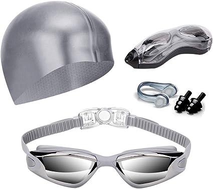 Swimming Glasses Goggles UV Protection Non-Fogging Nose Clip And Ear Plugs Gray