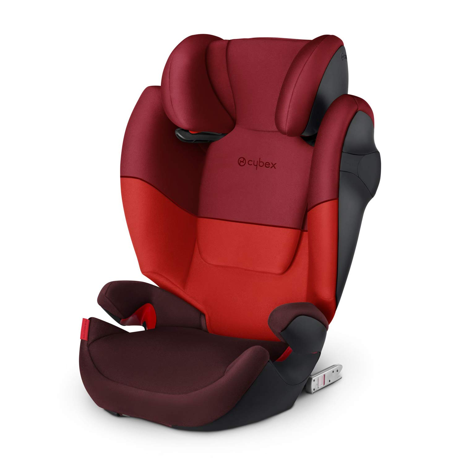 Cybex Silver Solution M-Fix Child's Car Seat, High Back Booster, with Reclining Headrest and ISOFIX Compatible, Group 2/3 (15-36 kg), From Approx 3-12 Years, Rumba Red