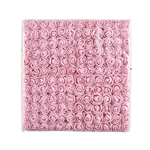 144pcs 2cm Mini Foam Rose Artificial Flower for Home Wedding Decoration DIY Pompom Wreath Decorative Bridal Flower Fake Flower (Light Pink)