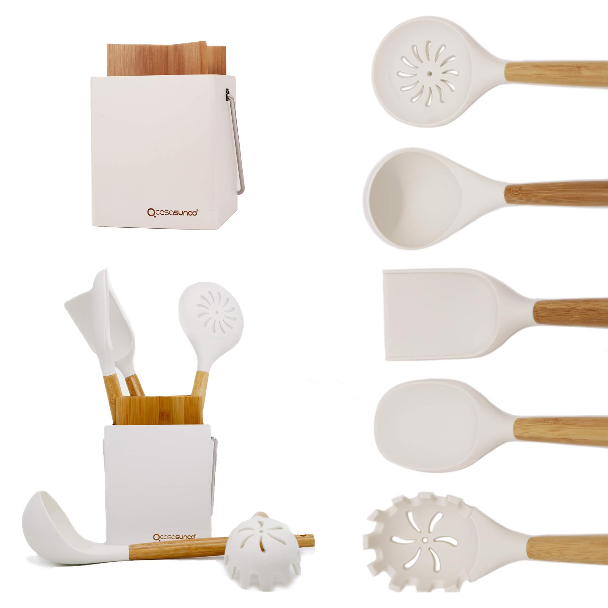 CASASUNCO Cooking Utensil Set of 5 with Holder– Beech Wood & Silicone – Practical Professional Heat-Resistant Non-stick Durable - Skimmer, Spoon, Ladle… (Creamy White)