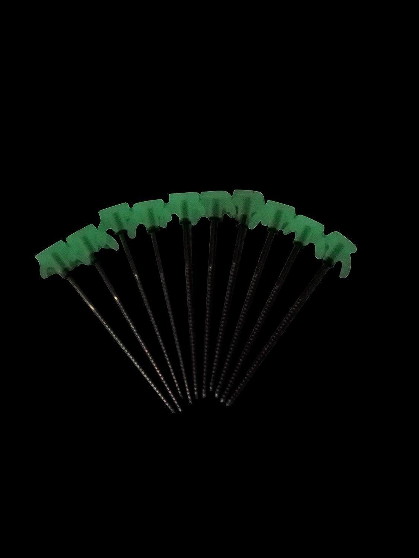 ABCamping 10 x piquetas de Rosca 80 x 200 mm con Gancho con Efecto de luz Trasera Incluye Anillo en O