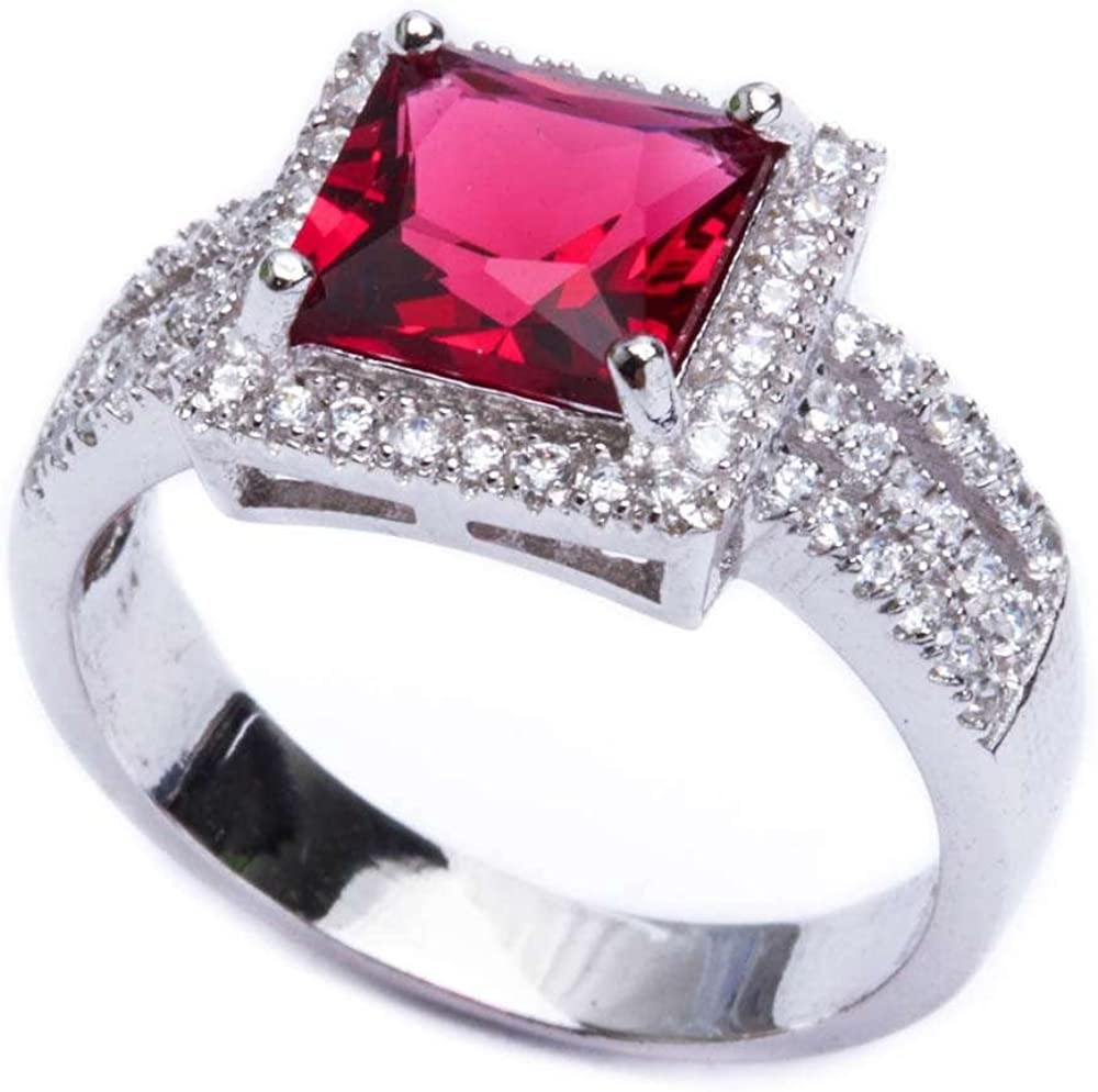 AWESOME 3 CT STAR RUBY  925 STERLING SILVER RING SIZE 5-10