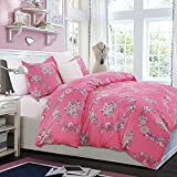 Image of Vaulia Lightweight Microfiber Duvet Cover Set, Colorful Floral Print Pattern, Pink - Queen Size