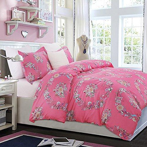 Vaulia Lightweight Microfiber Duvet Cover Set, Colorful Floral Print Pattern, Pink