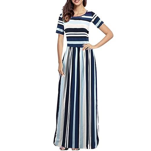 1847aa69a25 Amazon.com  Women s Boho Hippie Shirt Dress Ladies Retro Rainbow Striped  Print Loose Midi Dress  Clothing