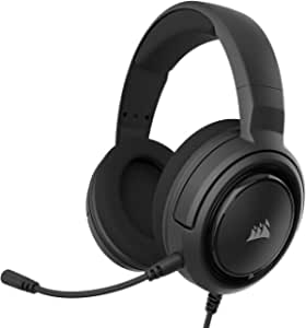 Corsair HS35 Stereo Gaming Headset, Custom 50 mm Neodymium Speakers, Memory Foam Earcups, Detachable Unidirectional Microphone, Works with PC, Mac, Xbox One, PS4, Switch, iOS and Android – Carbon