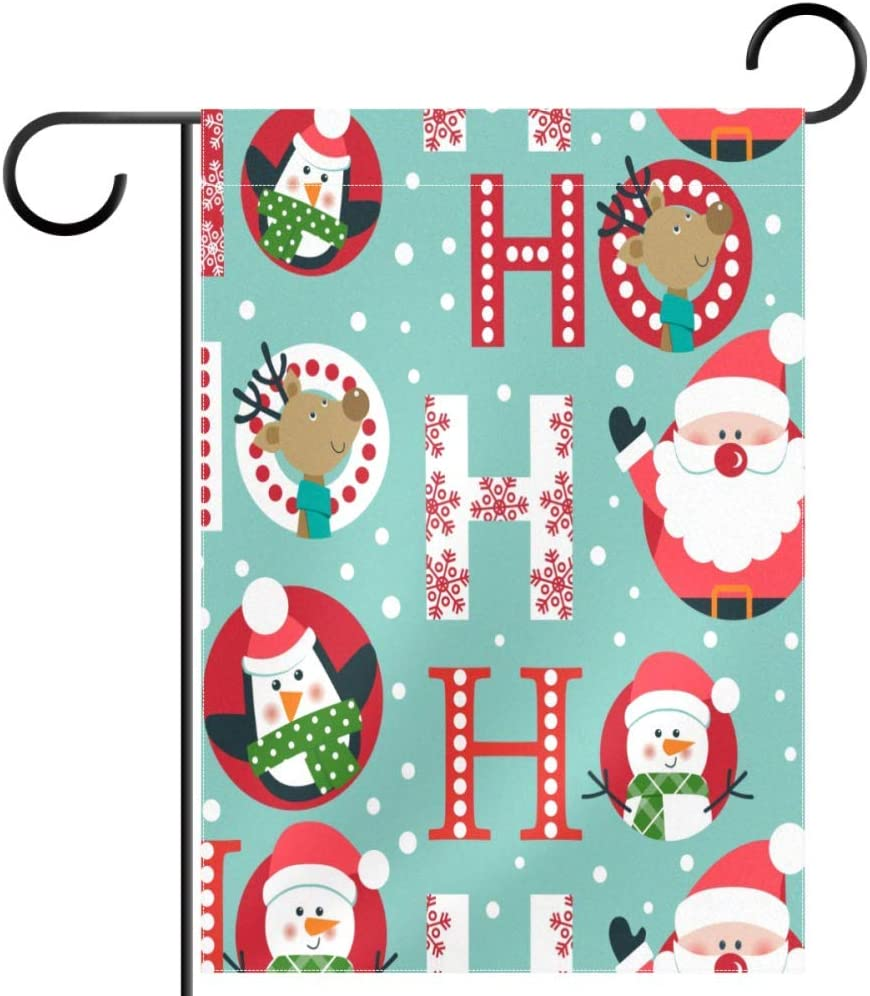 Lyetny Christmas Santa Deer Penguin and Snowman Polyester Fabric Home Decorative Flags Garden Yard Flag 28 by 40 in (Without Flagpole)