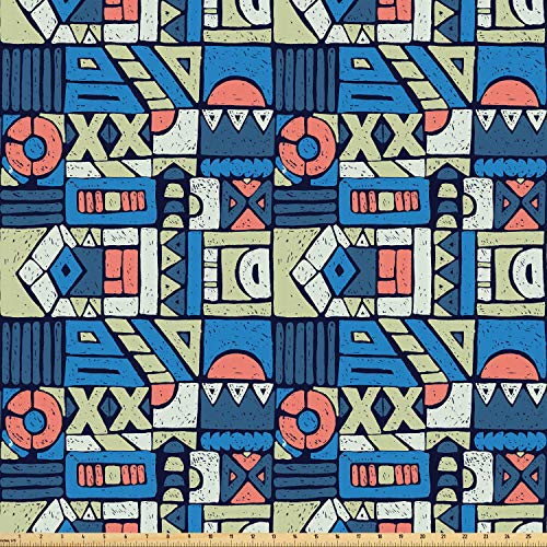 Ambesonne Ethnic Fabric by The Yard, Print with Tribal Folk Traditional Motifs Hand Drawn Style Indigenous Art Elements, Microfiber Fabric for Arts and Crafts Textiles & Decor, 1 Yard, Multicolor from Ambesonne