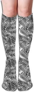 Xukmefat Tropical Palm Leaf Women's Fashion Knee High Socks Casual Socks