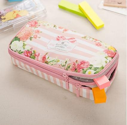 Kawaii - Estuche para lápices de doble capa, impermeable, gran capacidad, romántico, floral, color rosa: Amazon.es: Oficina y papelería