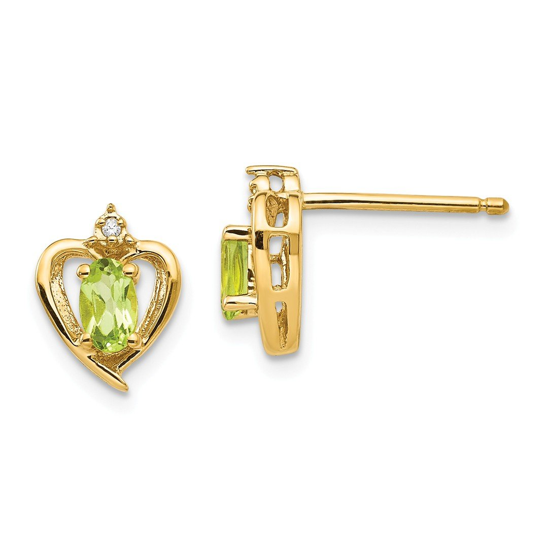 ICE CARATS 14k Yellow Gold Diamond Green Peridot Post Stud Ball Button Earrings Love Set Birthstone Style Fine Jewelry Gift Set For Women Heart