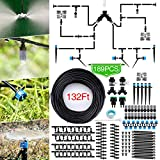 Jeteven 132ft/40m Drip Irrigation Hydroponics Supplies System Drippers Kit Tubing Accessories Tree Watering Automatic Plant Garden Hose Water Sprinkler, Set for Garden Greenhouse Flower Bed Patio Lawn