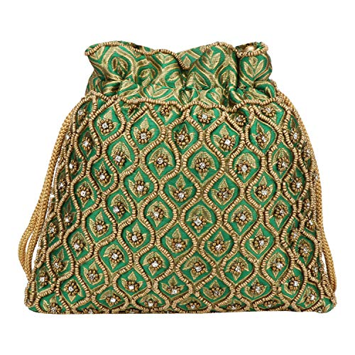 (Indian Ethnic Designer Embroidered Silk Potli Bag Batwa Pearls Handle Purse (Green wd beads))