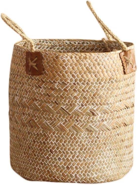 Amazon.com: SeedWorld Storage Baskets - Hand-Woven Seagrass Storage Basket Nordic Simple Fruit Gardening Storage Bag Box Hamper Organizer Garden Flower Pot Planter 1 PCs: Home & Kitchen