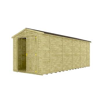 8 ft tratada a presión Grandmaster sin ventanas de madera cobertizo de jardín tradicional Apex Gable doble puerta: Amazon.es: Jardín