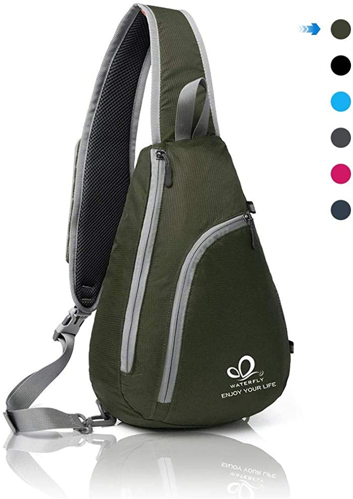 WATERFLY Packable Small Crossbody Sling Backpack Shoulder Chest Bag Daypack for Hiking Traveling