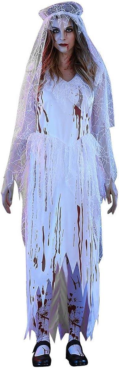 Maquillage Halloween Mariee.Kpilp Halloween Robes Sexy Femme Robe Halloween Mariee Femme Zombie Maquillage Soiree Dansante Bar Fete La Mode Robe De Bal Blanc M Amazon Fr Vetements Et Accessoires