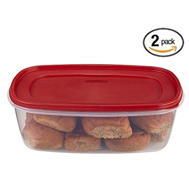 Rubbermaid 669900232999 Easy Find Lid Square 2.5-Gallon Food Storage Container, Red 2-Pack, 40 Cup