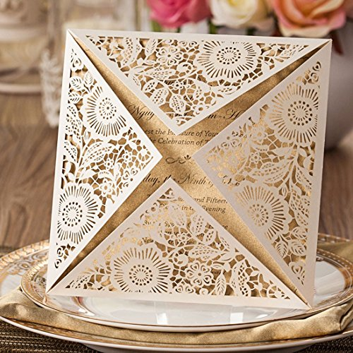 Wishmade 50x Beige Square Laser Cut Wedding Invitations Cards with Lace Sleeve Lace Flowers Engagement Birthday Bridal Shower Baby Shower Graduation Party Favors(set of 50pcs)