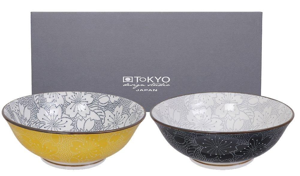 Sch/üsseln Porzellan Set. TOKYO design studio Sakura rund Japan Sch/üssel Set 2x19,7cm Zwei Schalen in dekorativer Geschenkbox