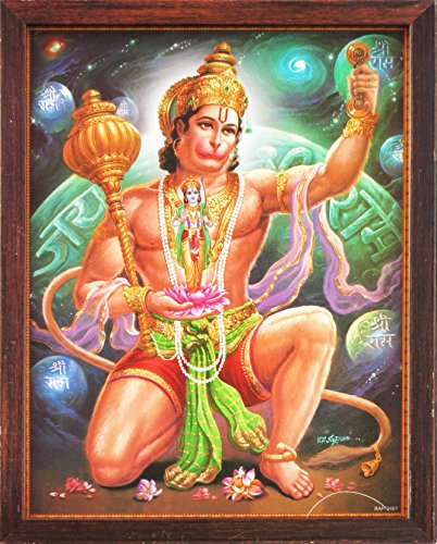 Hindu Lord Hanuman Holding Lord Ram Statue in Hand, a Holy Hindu Religious Poster Painting with Frame for Worship Purpose by HandicraftStore