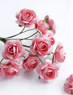 Zva Creative Mini Rose Bulk Paper Flowers 5 12mm 144 Stems Pink