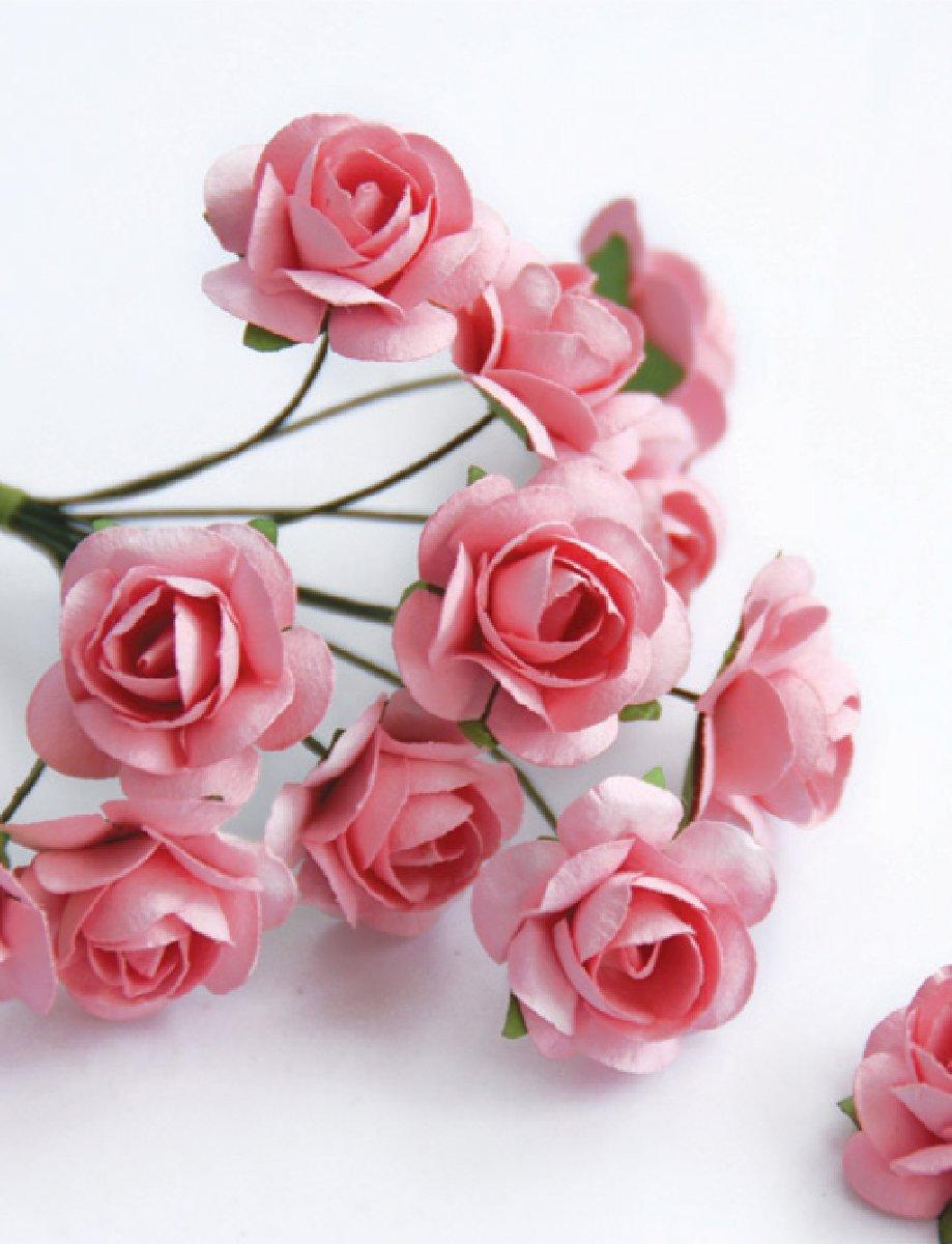 Zva-Creative-Mini-Rose-Bulk-Paper-Flowers-5-12mm-144-Stems-Pink-by-BadaBada-Favors