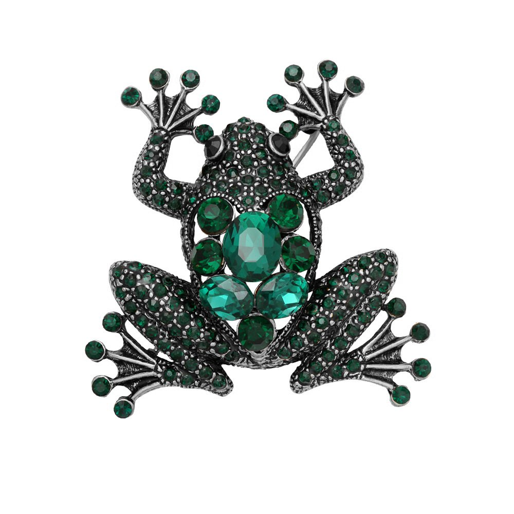 SENFAI Charm Green Frog Fashion Jewelry Pin Brooch (Antique silver)