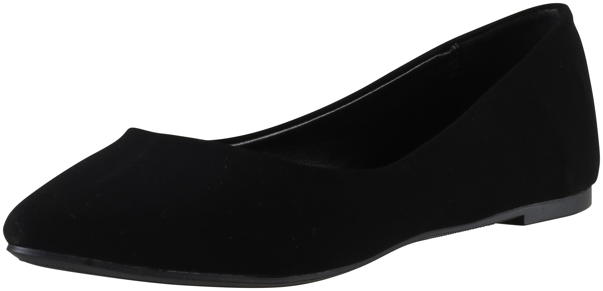 Soda Shoes Women's Redbud Pointy Toe Flat Memory Foam, Black Nubuck, 6.5 by Soda