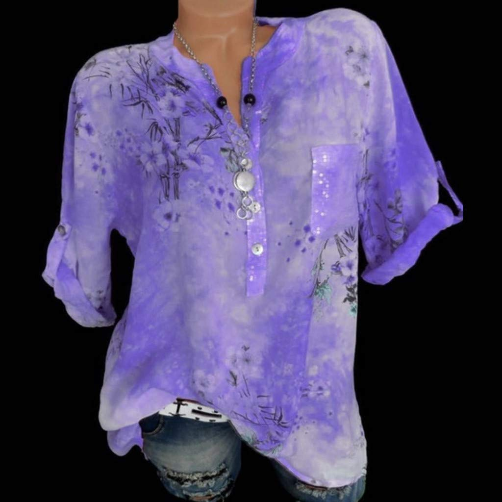 AgrinTol Women Summer Casual Loose Tops New Long Sleeve Printed Button Shirt