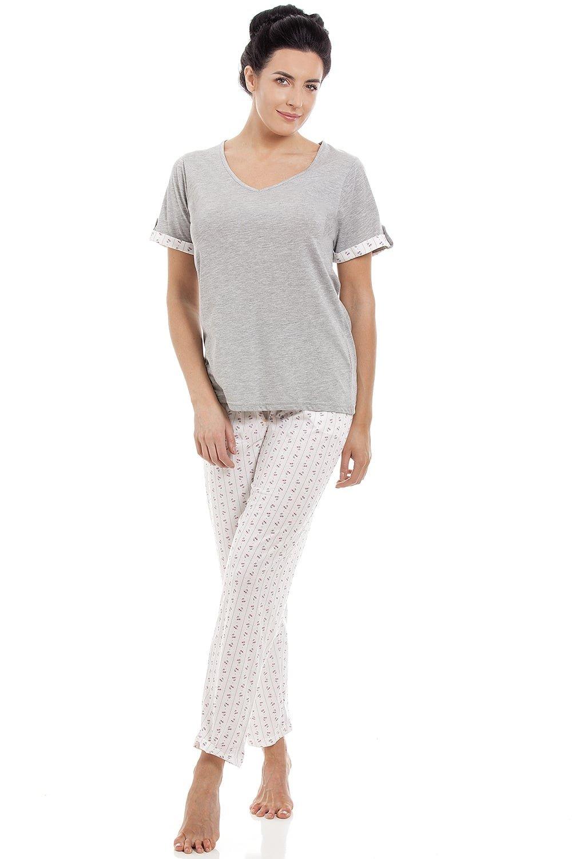 ADOME Womens Pyjama Set V-Neck Short Sleeve Nightshirt Tops /& Bottom Loungewea PJ Sets