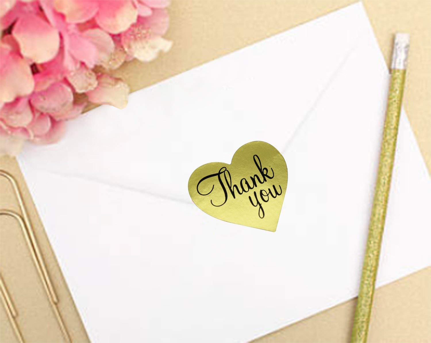 Thank You Stickers Gold Heart Shaped Foil Easy-Pull Adhesive Foil Labels (500 Pack) by Purple Q Crafts (Image #2)
