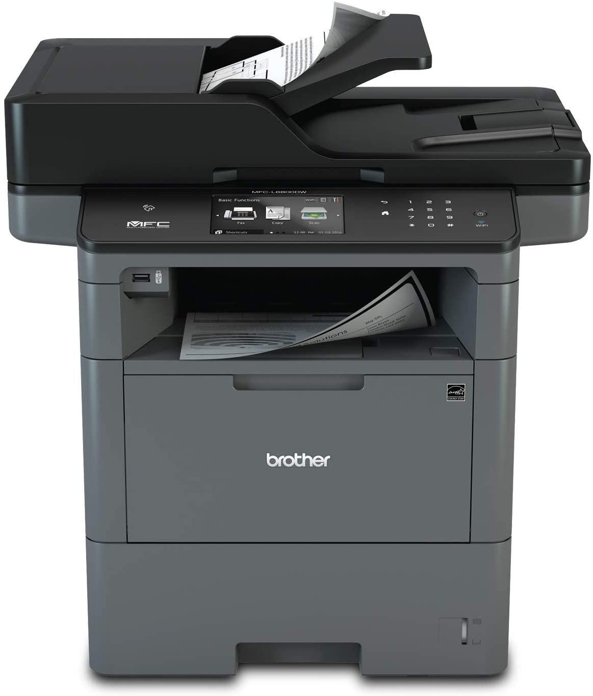Brother Monochrome Laser, Multifunction, All-in-One Printer, MFC-L6800DW, Wireless Networking, Mobile Printing & Scanning, Duplex Print, Scan & Copy, Amazon Dash Replenishment Enabled, Black