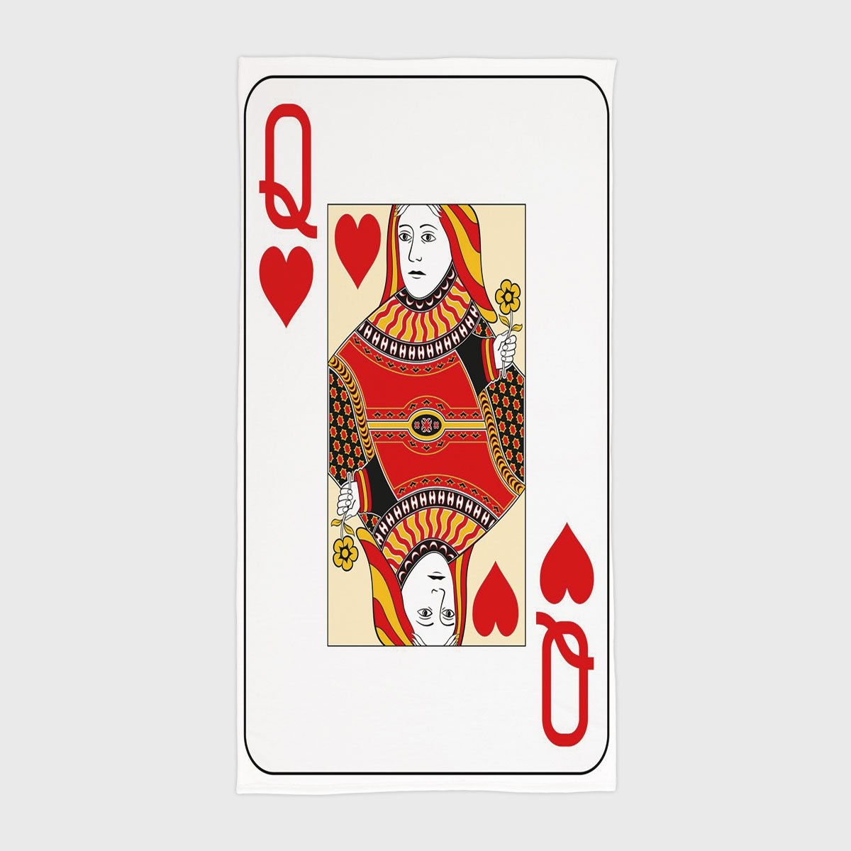 One Side Printing Hotel SPA Beach Pool Bath Hand Towel,Queen Queen of Hearts Playing Card Casino Decor Gambling Game Poker Blackjack Deck Red Yellow White,for Kids Teens and Adults