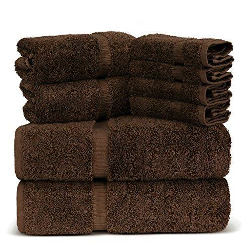 Luxury Spa and Hotel Quality Premium Turkish 8 Pieces Towel Set (2 x Bath Towels, 2 x Hand Towels, 4 x Wash Cloths, Brown)
