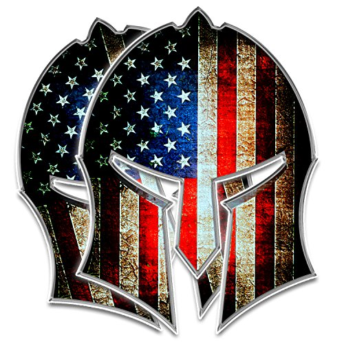 Bigtime Spartan Helmet Decal | Gladiator - Distressed Grunge American Flag | Contour Cut Bubble - F R E E HP Laminated Adhesive Car Sticker Gun 2nd Amendment | Made in USA | 5