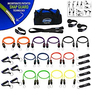 BODYLASTICS 31 PCS PREMIUM Resistance Bands Set. Includes 14 Best Quality ANTI-SNAP bands, heavy Duty Components: Anchors/Handles/Ankle Straps, and exercise training resources