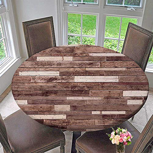 - Mikihome Luxury Round Table Cloth for Home use Floor Textured Planks Panels Picture Art Print Grain Cottage Lodge Hardwood Pattern Brown for Buffet Table, Holiday Dinner 63