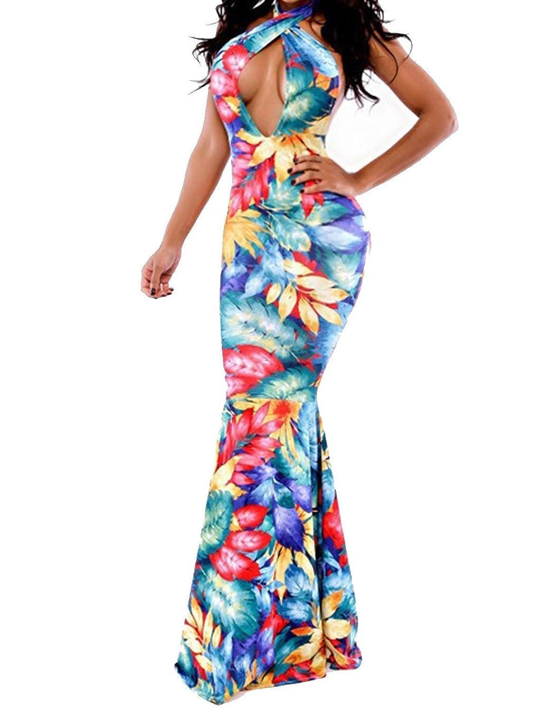 Fanala Women Sleeveless Backless Floral Bodycon Evening Gown Mermaid Maxi Dress