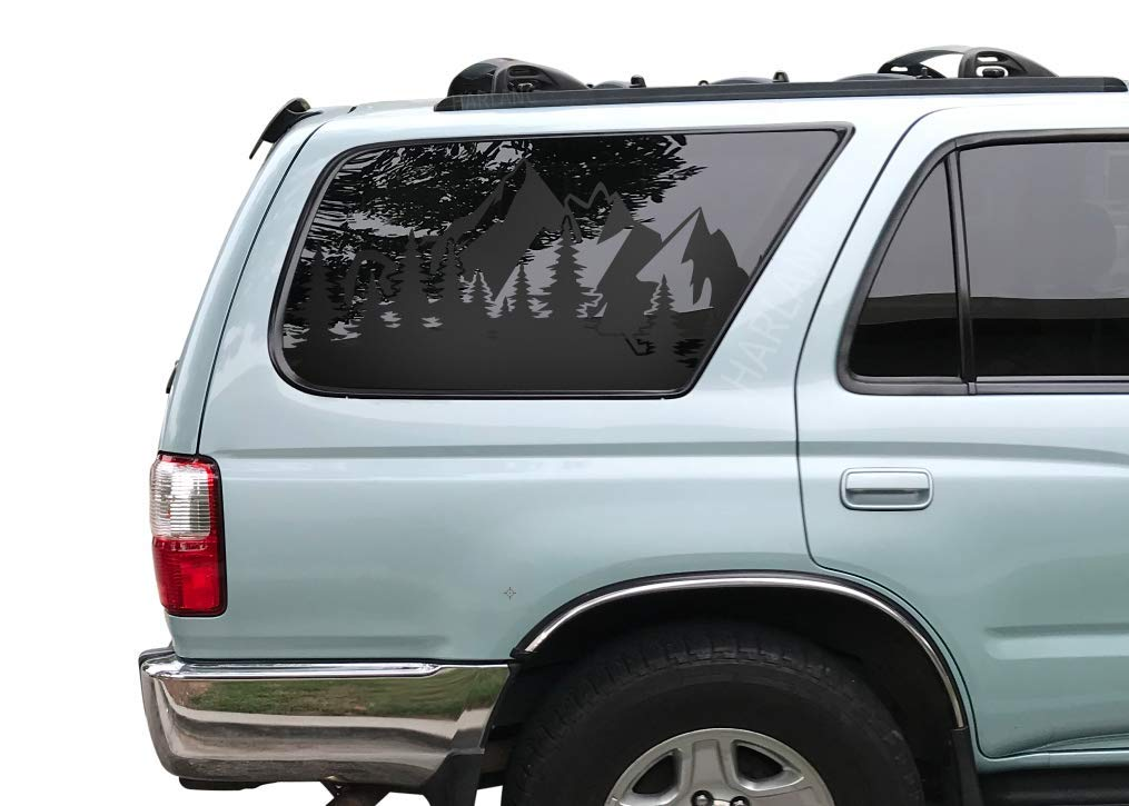 3rd Generation 4runner 1996-2002 FR31A Outdoor Scene Mountain Decals in Matte Black for side windows Toyota 4Runner
