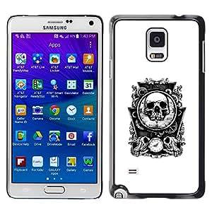 GOODTHINGS Funda Imagen Diseño Carcasa Tapa Trasera Negro Cover Skin Case para Samsung Galaxy Note 4 SM-N910F SM-N910K SM-N910C SM-N910W8 SM-N910U SM-N910 - huesos del cráneo espejo tiempo blanco de la muerte