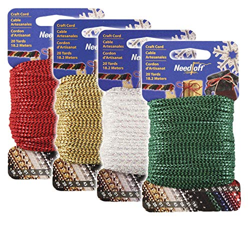 #1 Craft Cord 4-Pack Special - Needloft - Includes: #01 Metallic Gold, 03 Metallic Red, 04 Metallic Green, 33 Iridescent White - 4 Pack 80 Yards (4x20yds)