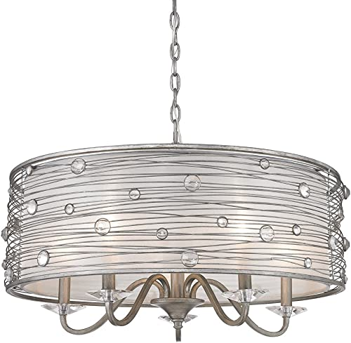 Golden Lighting 1993-5 PS Chandelier with Sterling Mist Shades, Peruvian Silver Finish