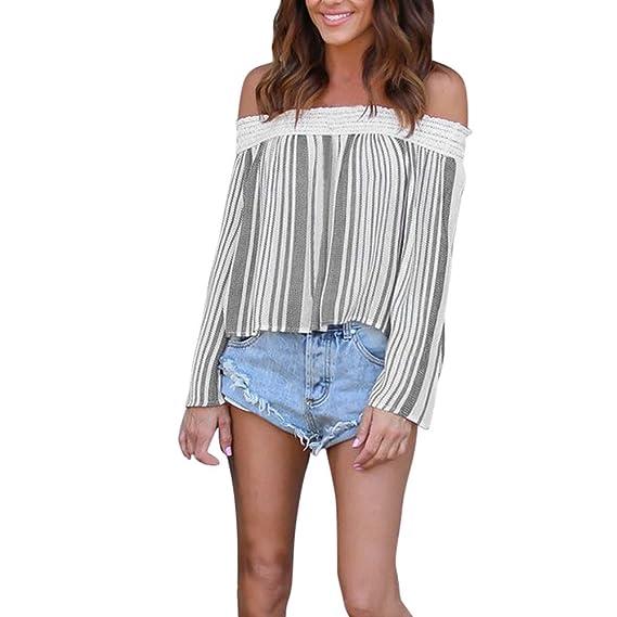 Sky Mujeres Rayas Impreso de Hombro de Encaje Camisa de Manga Larga Tops Camisa Blusa Long