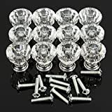 KINGSO 12 PCS Acrylic Crystal Glass Knobs Drawer Cabinet Pull Furniture Kitchen Handle -Clear
