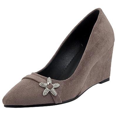AIYOUMEI Damen Keilabsatz High Heel Spitz Pumps mit Strass Bequem Schuhe Damen Keilpumps